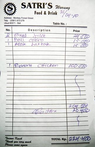 SATRI'S香蕉雞帳單