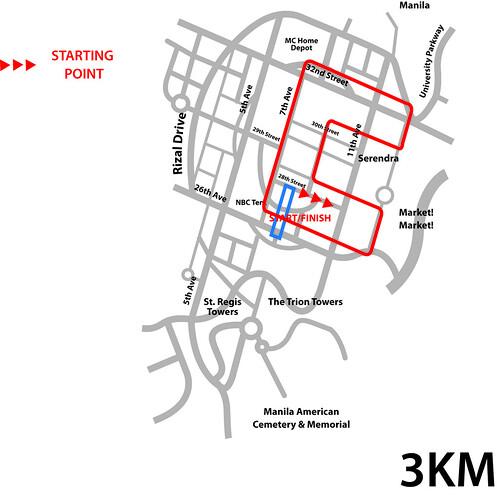 The Bottle School Run 2010 - 3K Map