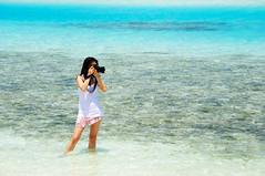 female photographer (muneez) Tags: blue beach girl turquoise lagoon dslr maldives colorsoflife