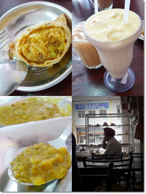 Samosa, Mango Lassi, Dhall Curry