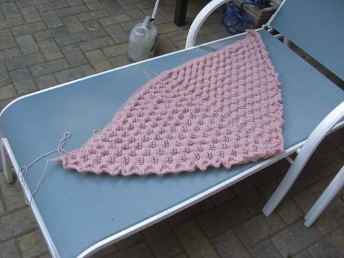 preblockedshetland lace triangle shawl - on chair