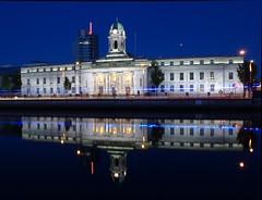Cork City Hall (J's Photo's) Tags: city blue ireland red reflection tower river lights hall nikon photos cork lee elysian flashing js d3000 ysplix beginnerdigitalphotographychallengewinner
