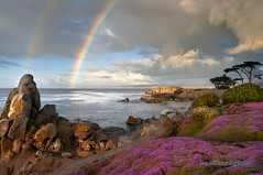 Rainbow at Lovers Point - Pacific Grove California (Darvin Atkeson) Tags: california park travel flowers sea vacation usa storm beach rain clouds america reflections point landscape aquarium bay coast us monterey rainbow rocks pacific grove scenic double lovers coastal beaches destination cypress    darvin loverspointinn atkeson  darv   liquidmoonlightcom