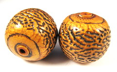 Antiqued Gold Textured Polymer Clay Focal Beads