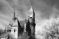 Jefferson Market Tower (Jamie Powell Sheppard) Tags: newyorkcity blackandwhite bw newyork film architecture analog ir thevillage photo fineart negative courthouse canonae1program greenwichvillage victoriangothic librariesandlibrarians 50mmlens 35mmslr femalephotographer hc110dilb 25redfilter jeffersonmarketbranchlibrary filmwins jamiepowellsheppard kodakhiebwinfrared 18751877 newyorkpubliclibrarysystem frederickclarkwithersandcalvertvaux thelibrariesproject believeinfilm