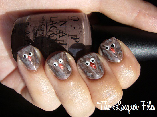 Owls Nail Art Design Hoot
