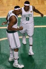 PEIRCE AND RONDO CELEBRATING BECAUSE THE REFS FINALLY MADE A RIGHT CALL
