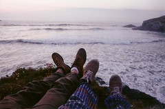 (Maddie Joyce) Tags: ocean boy sunset sea bus love film feet beach boyfriend girl canon eos evening sand shoes girlfriend cornwall waves boots magic adventure vans magical themagicbus wwwthemagicbuscollectivecom maddiejoyce