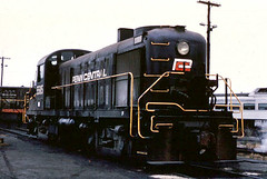Penn Central Alco RS-3 # 5585 at Boston Massachusettes, circa late 1960's era. Notice the red  C on the locomotive end. From the internet.