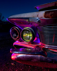 Split Lip (Lost America) Tags: lightpainting night fullmoon bumper imperial headlight junkyard chrysler 1962 nocturnes thebigm