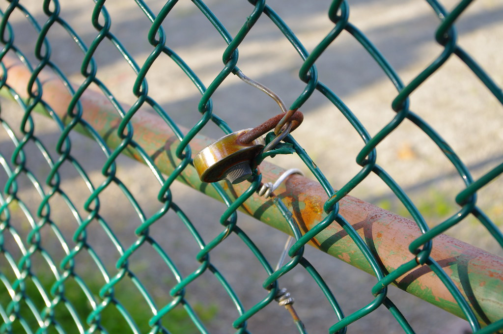 Lock on a schoolyard fence