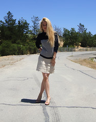 J.Crew Sweater + Aldo Heels + Talbots Linen Skirt - 1 (Iva Messy) Tags: outfit legs linen stripes skirt aldo hoops jcrew whatiwore talbots longblondhair whattowear darktop linenskirt ivamessy hudeheels lightbotton