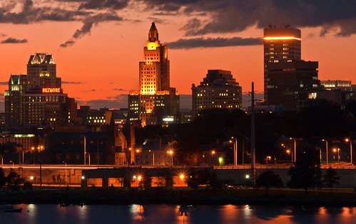 Providence skyline at sunset