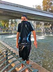 Enjoying the water (alobos Life) Tags: chile santiago boy man cute male guy de outdoors body candid fuente guys latino chileno providencia aviacion