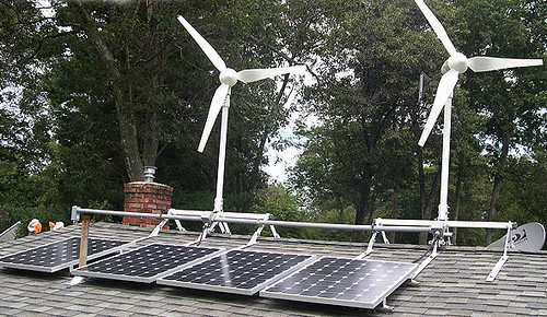 wind and solar on house
