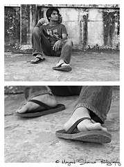 Wish you were here.... (Mayank Sharma renewed :D :D) Tags: boy portrait bw india canon friend sitting terrace candid slippers