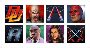 free Daredevil slot game symbols