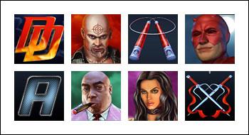 free Daredevil slot game symbols