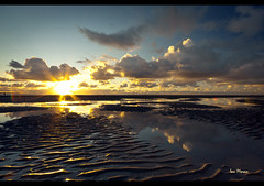 Flared ripple, Crosby Beach sunset, Explore frontpage (Ianmoran1970) Tags: blue sea sky irish orange cloud beach wet water pool contrast reflections landscape sand boots ripple explore pools fp frontpage mersey crosby ironmen muddyboots explored ianmoran ianmoran1970
