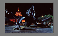 City Hall in Orange and Monster (RZ68) Tags: world city orange art 120 film st monster statue bronze night for three hall big san francisco arms center velvia wierd heads civic series giants 6x7 creature six zhang provia larkin polk rz67 huan e100 rz68