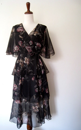 Painted Roses Tiered Black Dress, 1970's