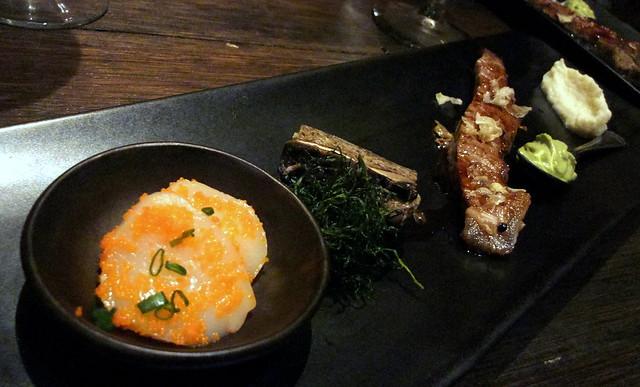 Hybrid Agent: Cold Seared Scallop-Habanero Fish Roe (Hokkaido) with Matcha Foam, Grilled Wagyu Beef (MB-7) with Port Wine Glazed Portobello Terrine and Cauliflower-Mash