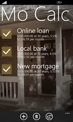 Home screen with multiple mortgages