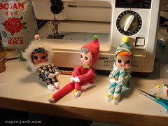 making kneehuggers (Super*Junk) Tags: christmas vintage toys holidays dolls handmade sewing crafts makeup retro pixie elf imp kitchy