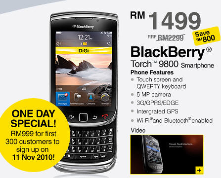 5165901292 8600c7a1aa Blackberry Torch 9800 Available At Digi Now, Priced RM900 for the first 300 customers