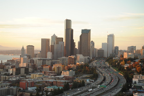 Columbia Tower at center, Highway 5, Freeways, fall trees, Seattle, Washington, USA by Wonderlane