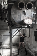 The beauty and the beast (martinmmyrhaug) Tags: nude bruise legs boots highheels cuffs decay urbex woman gasmask