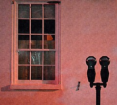 Pink Parking (explored) (pjpink) Tags: parking meter parkingmeter night empty window building staugustine florida fl april 2017 spring pjpink