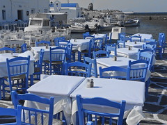 You can have any seat you like (Couldn't Call It Unexpected) Tags: blue seat table chairs paros aegean greece