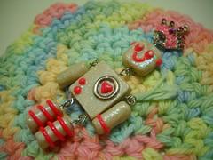 Robot Princess (Momo Lolli) Tags: pink robot princess jewelry charm clay kawaii crown pendant polymer