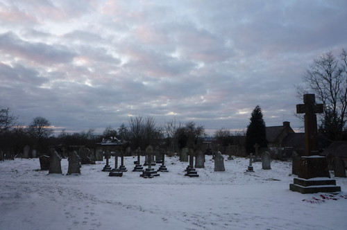 Moreton Pinkney churchyard snow