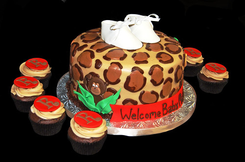 animal leopard print baby shower cake