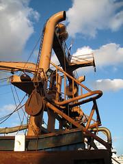 complicated rusty construction (Harry -[ The Travel ]- Marmot) Tags: blue sky holland netherlands dutch harbor boat fishing rust blauw ship harbour nederland rusty vessel clear noordholland roest schip ijmuiden viskotter