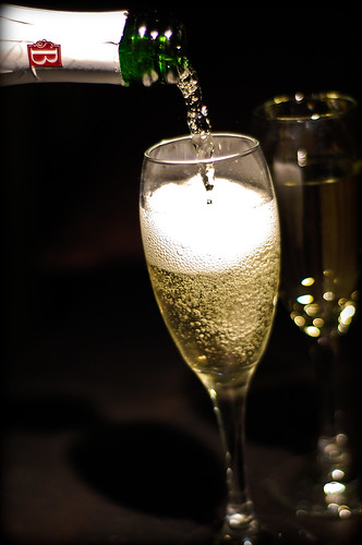 champagne poured into glass
