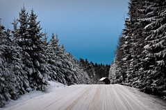 We drove for miles and miles into a frozen forest... (cablefreak) Tags: ocean road blue winter light sky white snow childhood norway barn forest landscape fishing nikon raw driving afternoon village sweden country overcast dreams handheld moment westcoast spruce mainline strmstad nordby singleexposure stensvik d300s nikkorafs175528 norrabohusln hogdal northbohusln