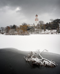 Fresh Snow (Philipp Klinger Photography) Tags: park winter light shadow sky white lake snow tree tower ice water clouds germany dark deutschland frozen pond nikon branch hessen bright bad palace fresh schloss teich philipp taunus schlossgarten hesse klinger schlossteich homburg d700 vanagram