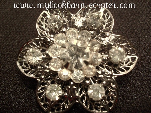 Vintage Silver Tone Filigree Clear Rhinestone Flower Shaped Pin Brooch