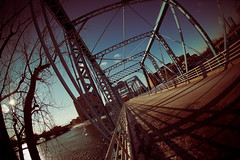 Old Blue (Rudy Malmquist) Tags: bridge blue fish eye downtown angle michigan wide grand rapids fisheye