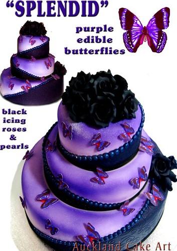 SPLENDID PURPLE BUTTERFLIES BLACK ROSES WEDDING CAKE - a photo on ...