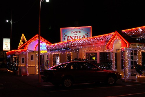 the indian place lit up like it's vegas
