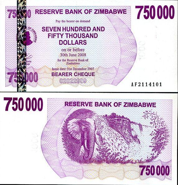 750 000 dolárov Zimbabwe 2007