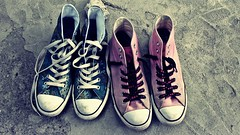 my converses (Just Smile!♥) Tags: pink blue white green blanco star shoes floor girly rosa trainers zapatos converse chucks laces allstars zapatillas hitops sneackers verano2009 greenorbluei´mnotreallysure