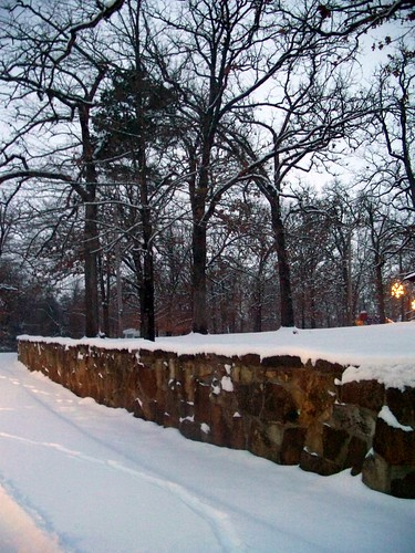 winter stone wall