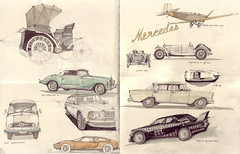 Im Mercedes-Benz-Museum (Flaf) Tags: colour water museum pencil studio mercedes drawing un mercedesbenz florian 300 daimler 190 220 simplex automobil ssk c111 afflerbach