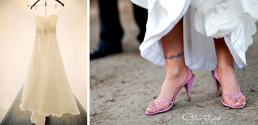 vintage wedding dress and pink bride shoes detail shot picture