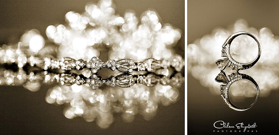 rhinestone necklace and wedding ring sepia reflections image